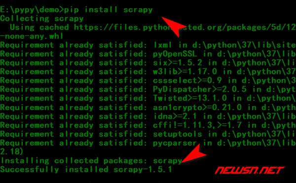 scrapy爬虫系列:scrapy入门demo - pip_install_scrapy_cmd